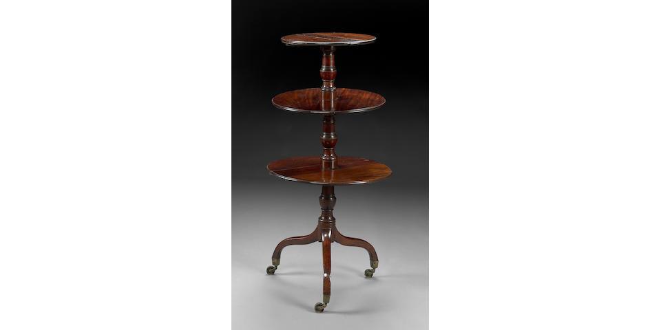 A George III mahogany three tier dumbwaiter