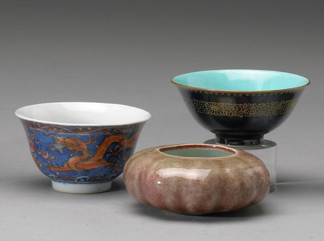 A group of three glazed porcelain containers Late Qing/Republic Period