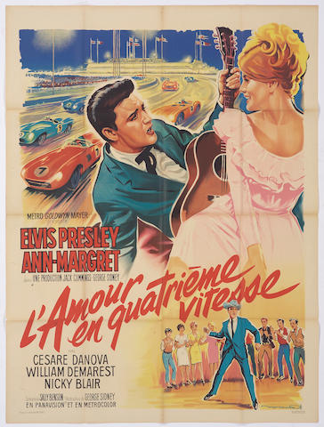 A 'Viva Las Vegas' Elvis Presley movie poster, French version,