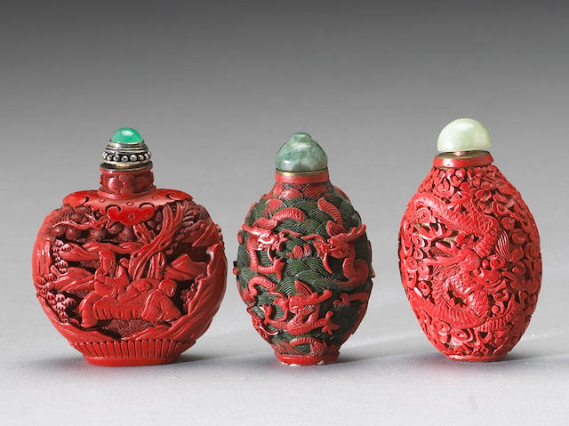 Three Carved cinnabar lacquer snuff bottles Late Qing/Republic Period