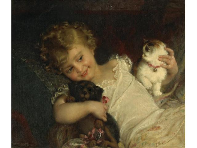 Emile Munier (French, 1840-1895) Childhood friends 21 x 24 1/2in (53.3 x 62.3cm)