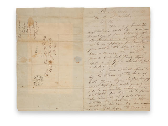 Crockett, David. 2pp. ALS to Daniel Webster.