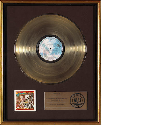 "A Jerry Garcia RIAA gold record gifted to Rock Scully for ""Grateful Dead The Best of Skeletons from"