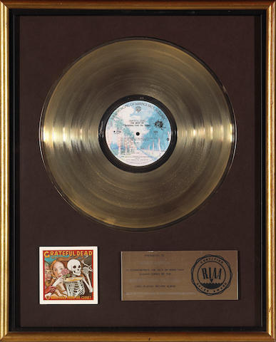 """A Jerry Garcia RIAA gold record for """"Grateful Dead The Best of Skeletons from the Closest,"""" 1974, 1980"""