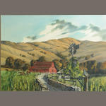 Bruce Lattig, Red Barn, w/c, 22 x 30in.
