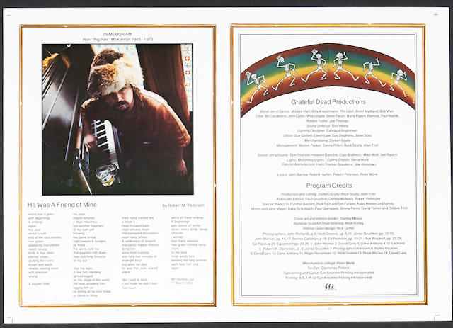 Two Grateful Dead front and back cover proofs from a printed program, 1973