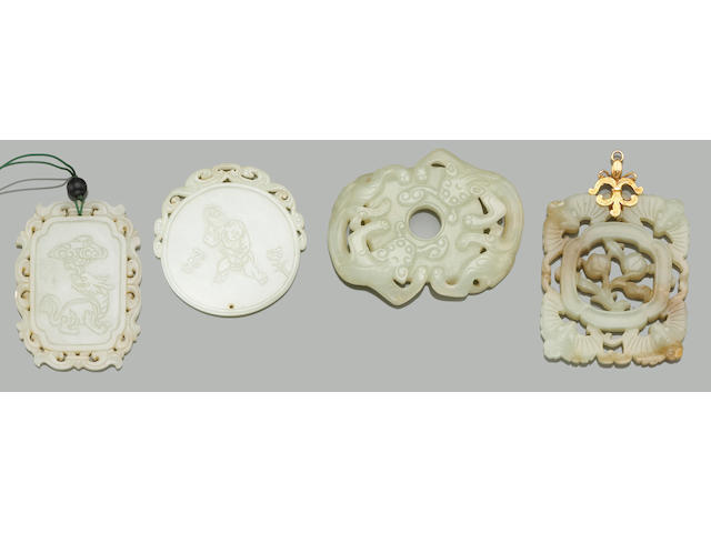 Eleven nephrite pendants 19th Century and Later