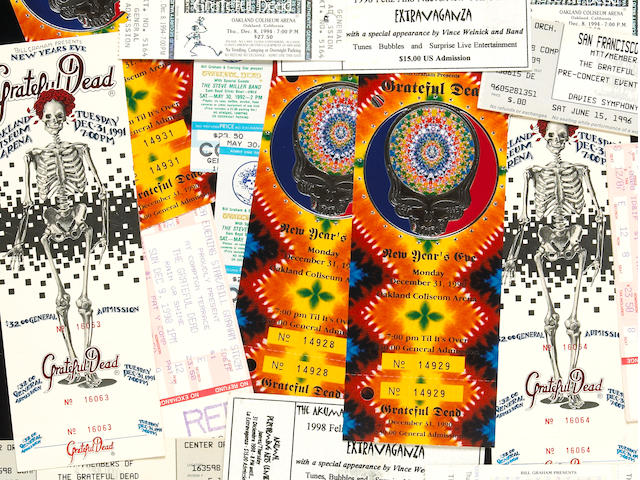 A Vince Welnick group of saved Grateful Dead concert tickets, 1990s