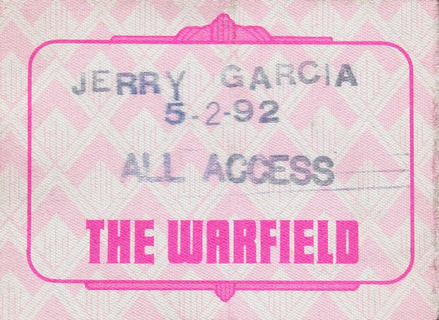 A Vince Welnick 'All Access' backstage pass from an Affordables concert, The Warfield, San Francisco, CA, May 2, 1992