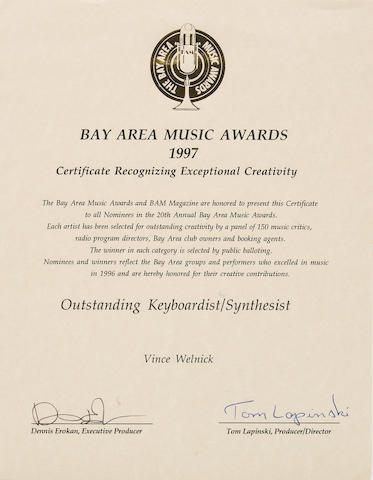 A Vince Welnick Bay Area Music Awards 'Certificate Recognizing Exceptional Creativity,' 1997