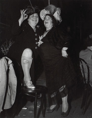 Weegee (Arthur Fellig) (American, 1899-1968); Billie Dauscha and Mabel Sidney, Bowery Entertainers;