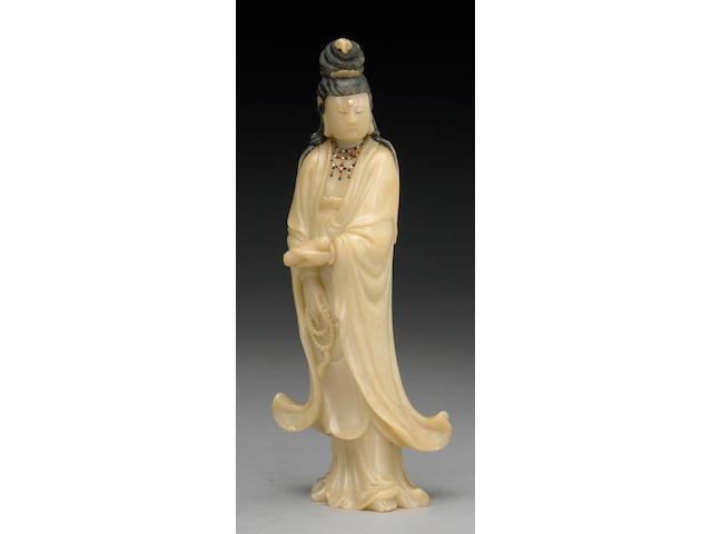 A carved soapstone figure of Guanyin Late Qing/Republic Period
