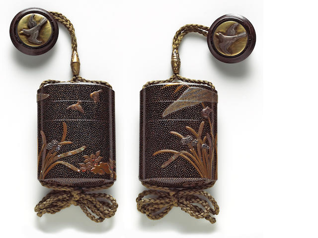 An unusual roiro lacquer two-case inro By Shigetsugu and Hamano Shozui, 18th/19th Century