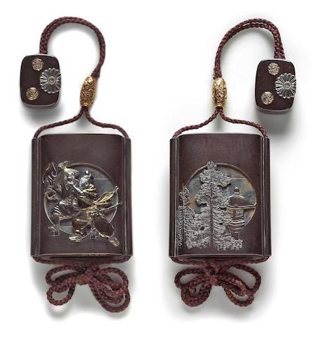 A silver and shibuichi four-case sheath inro By Hamano Noriyuki, 18th/19th Century