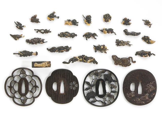 A group of tsuba and sword fittings Most Edo Period