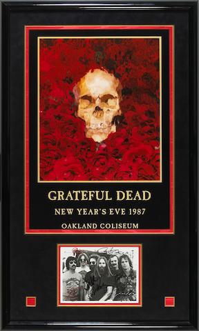 A Grateful Dead signed black and white photograph, circa 1980s