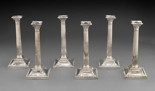 George III Silver Assembled and Matching Set of Six Corinthian Columnar Candlesticks by John Carter II