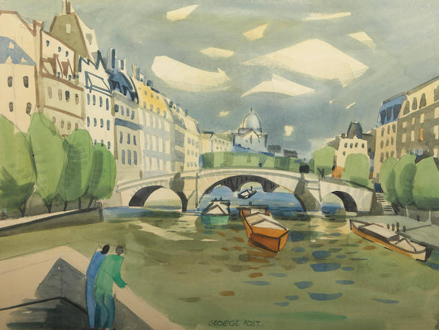 George Booth Post (American, 1906-1997) Paris 17 1/2 x 23in