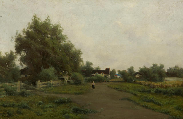 Ransom Gillet Holdredge (American, 1836-1899) A Landscape with a Figure on a Path 16 1/4 x 24in