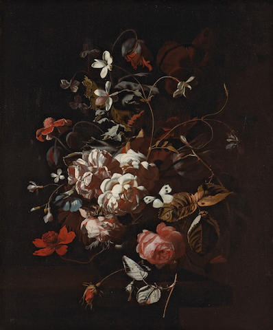 Studio of Simon Pietersz. Verelst (Dutch, 1644-1721) Roses, tulips, carnations, a butterfly and other flowers in a vase on a table 27 x 22in (68.6 x 55.9cm)