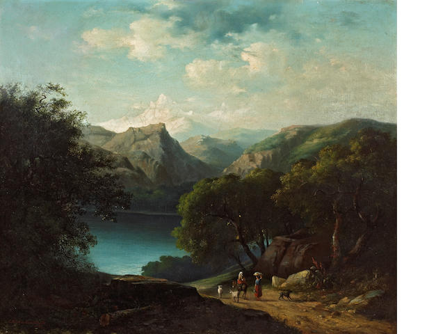 C. Welsch von Chratochville(?) Swiss/Italian School (19th century)  A view of a lake with figures on a path and mountains beyond 25 x 30in (63.5 x 76.2cm)