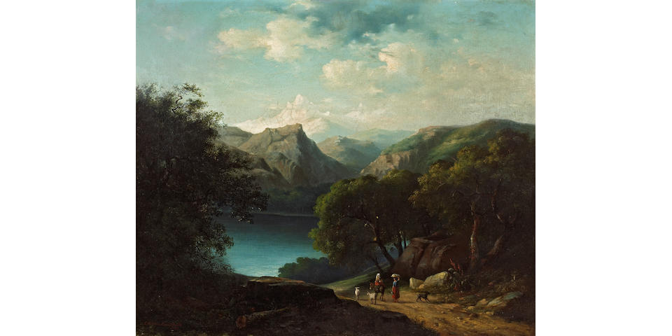 Swiss School, 19th Century A view of a lake with figures on a path and mountains beyond 25 x 30in
