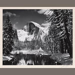 Ansel Adams (American, 1902-1984); Half Dome, Merced River, Winter;