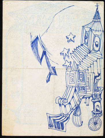A Jerry Garcia original ink drawing on the back of a Grateful Dead fan club admission form, 1967