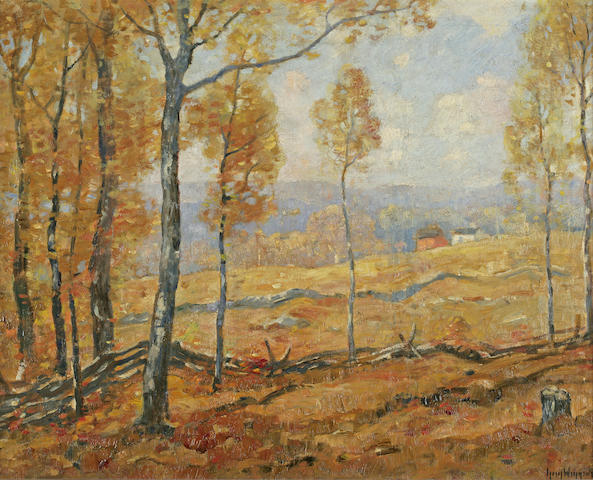 Guy A. Wiggins (American, born 1920) Golden Autumn, Lyme, Connecticut 1938 24 x 30in