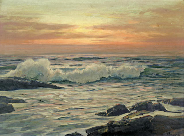 Frederick Judd Waugh (American, 1861-1940) Seascape at Sunrise 16 x 22in