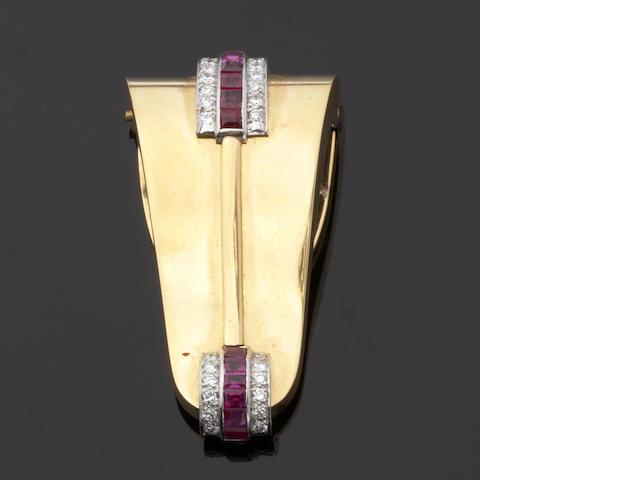 A ruby and diamond clip,   Tiffany & Co.,