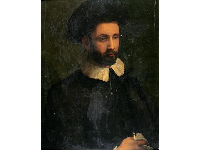 Circle of Francesco del Rossi (Salviati) (Italian, 1510-1563) A portrait of a gentleman wearing a hat 26 1/2 x 20 3/4in (67.3 x 52.7cm)