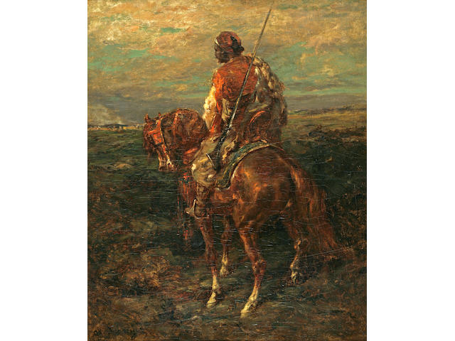 Adolph Schreyer, Arab on Horseback, oil on canvas INSPECTION