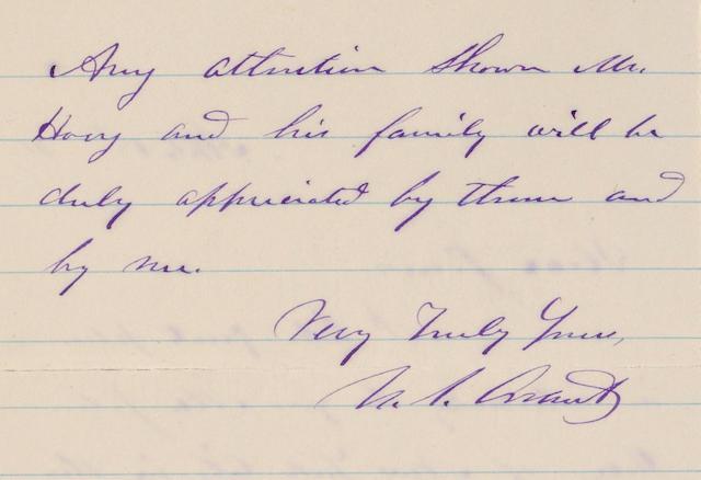 Grant, U.S. 2pp. ALS. 1872.