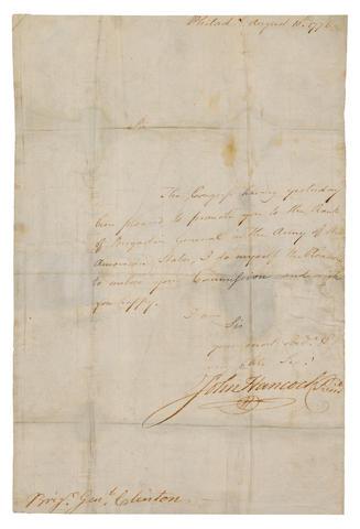 HANCOCK, JOHN.  1737-1793.