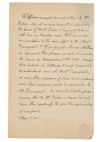 Jefferson, Th. ALS. 1804.