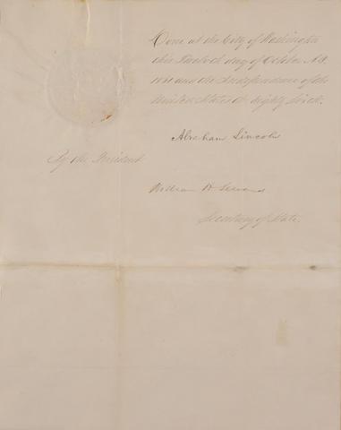Lincoln, A. DS. 1861. Pardon.