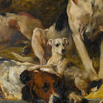 John Emms (British, 1843-1912) Hounds and a terrier on a bench 22 1/16 x 36 in. (56 x 91.5 cm.)