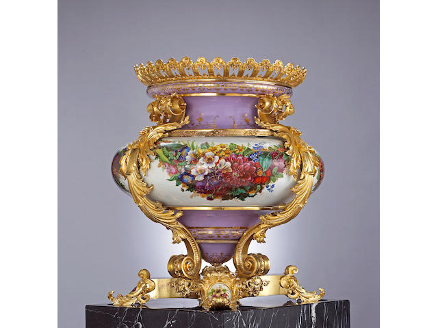 A Russian monumental gilt bronze mounted porcelain palace vase, Imperial Porcelain Manufactory, St. Petersburg, Peroid of Nicholas I (1825-1855)