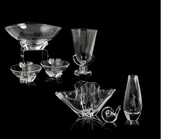 A group of five Steuben clear glass table  articles