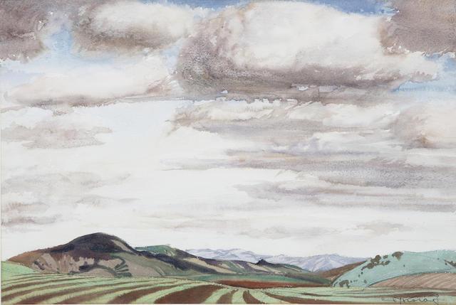 Emil Jean Kosa, Jr. (American, 1903-1968) Tilled Fields 15 1/4 x 22in