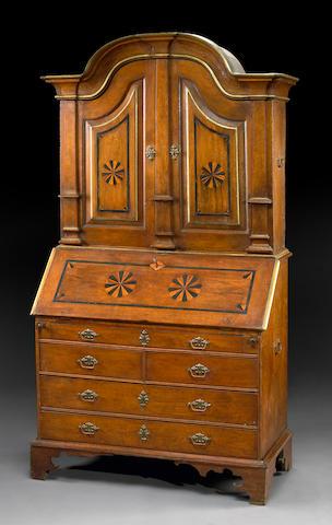 A Continental inlaid oak secretary cabinet