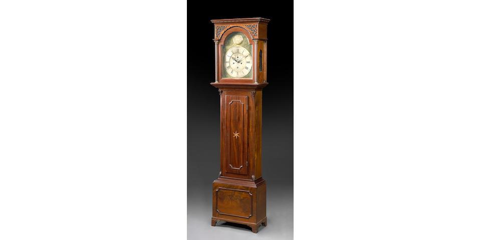 A George III inlaid mahogany tall case clock