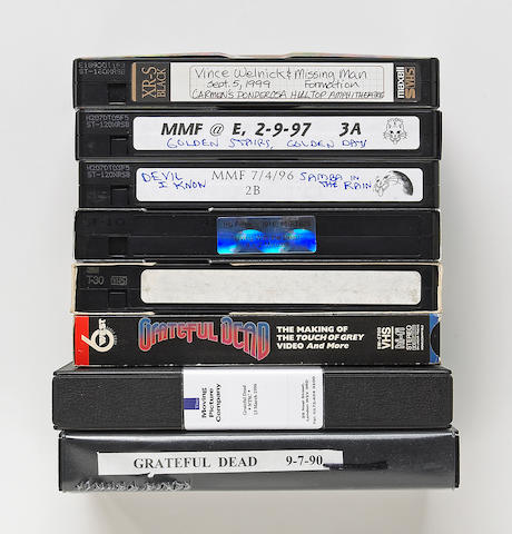 A Vince Welnick collection of VHS videocassettes of Grateful Dead and Missing Man Formation concerts plus other miscellaneous footage, 1990s