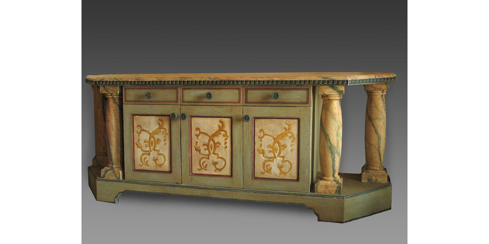 An Italian Baroque style paint decorated credenza