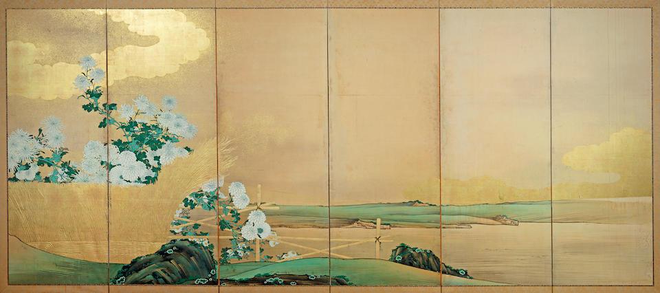 Kyoto Kano School (19th Century) Chrysanthemums and Brushwood Fences