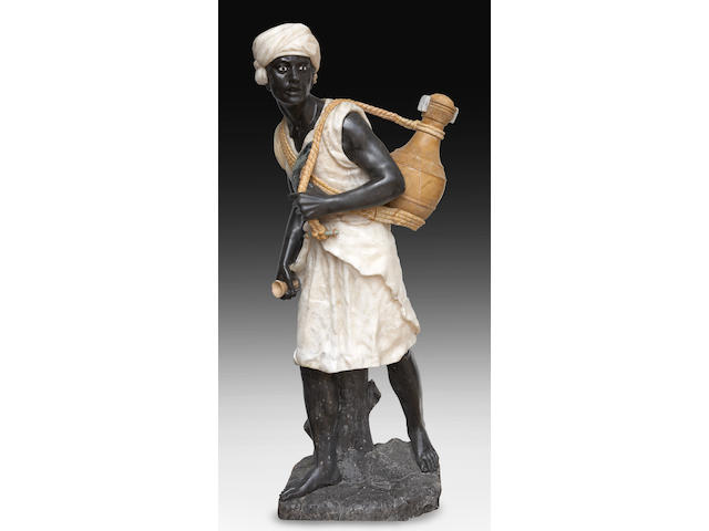 A carved marble and alabaster figure of a blackamoor