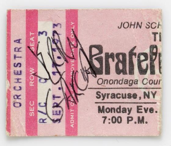 A Jerry Garcia signed Grateful Dead ticket stub, 1973