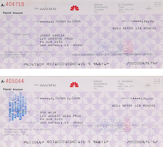 A Jerry Garcia and Mickey Hart set of checks from NBC Television for their appearance on THE LATE SHOW???, 1992