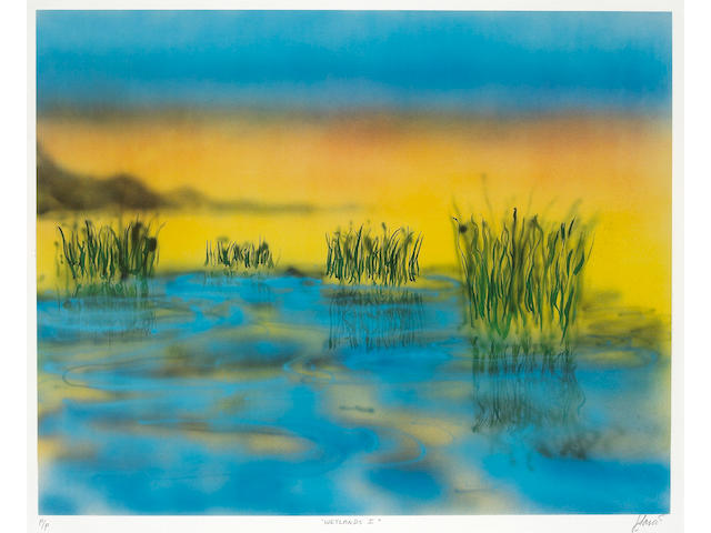"A Jerry Garcia signed variant printer's proof print titled ""Wetlands I,"" 1990s"